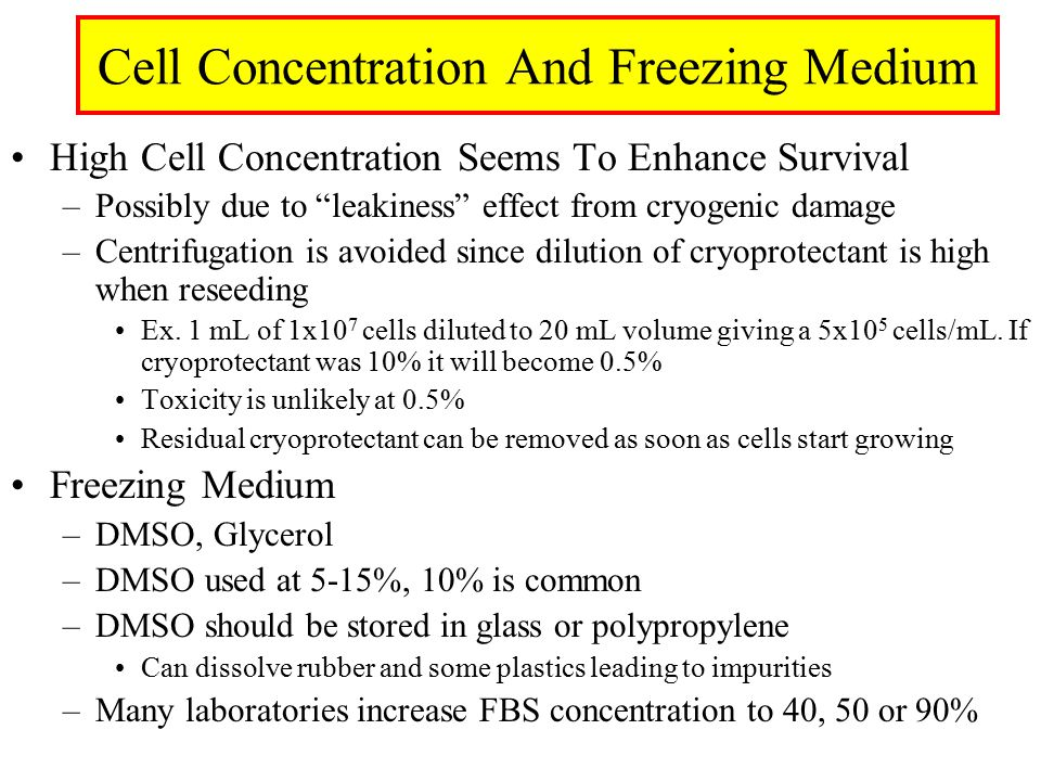 Cell Concentration And Freezing Medium