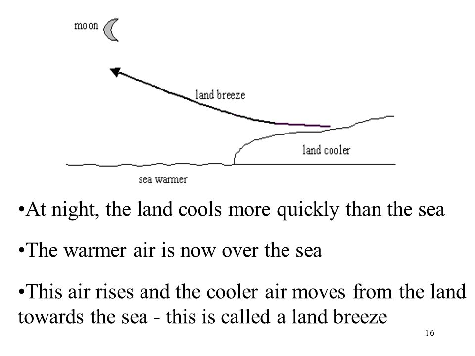 At night, the land cools more quickly than the sea