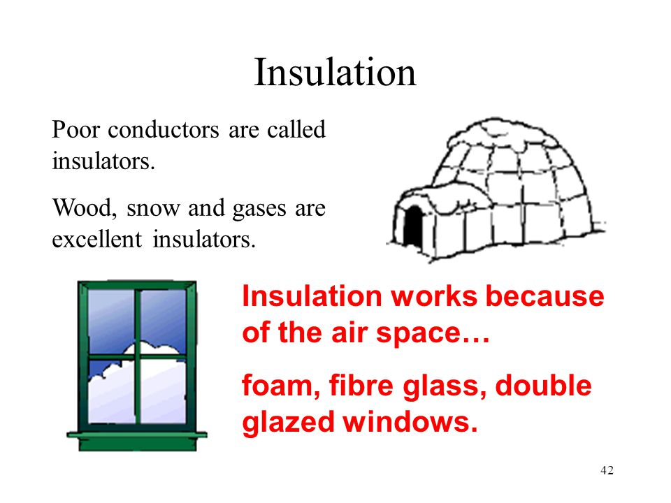 Insulation Insulation works because of the air space…