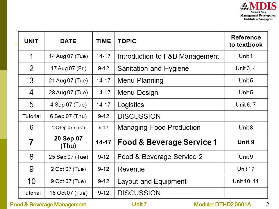 7 1 2 3 4 5 Food & Beverage Service 1 8 9 10