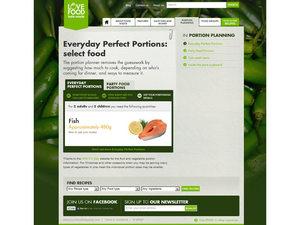 The portion calculator on the website is great for catering for larger groups.