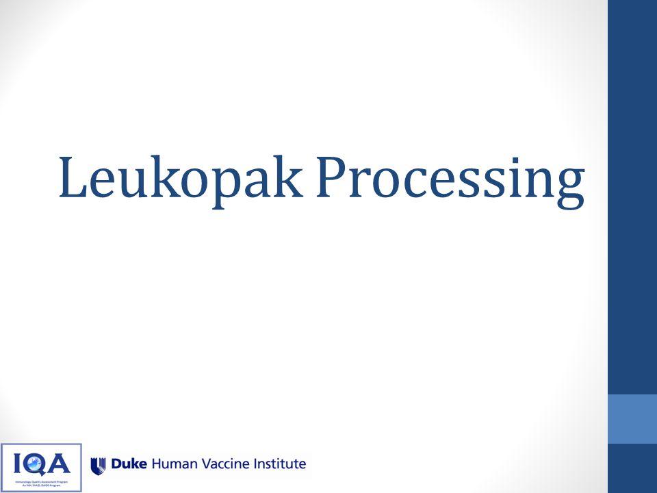 Leukopak Processing