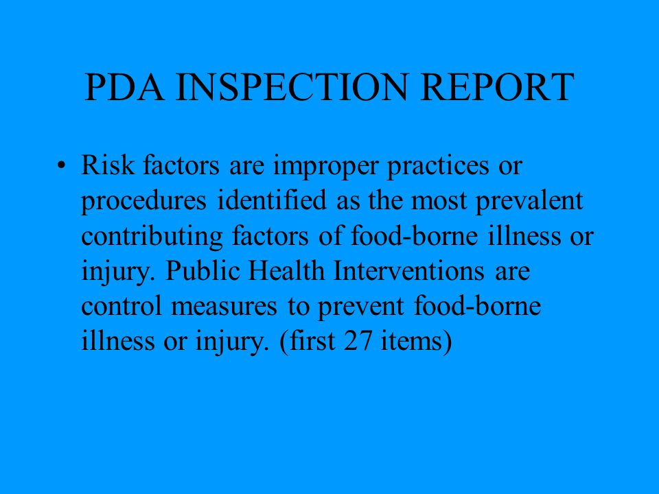 PDA INSPECTION REPORT