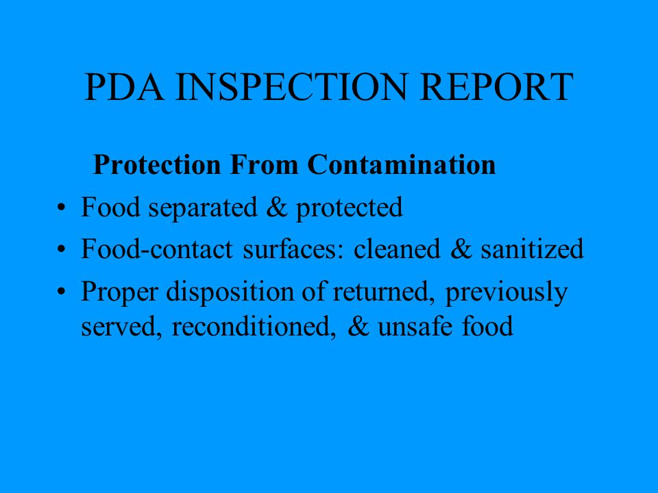 PDA INSPECTION REPORT Protection From Contamination