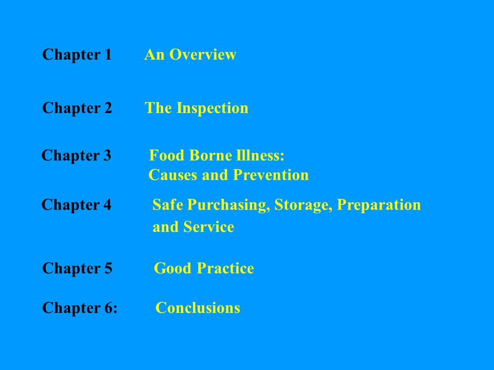 Chapter 1 An Overview Chapter 2 The Inspection. Chapter 3 Food Borne Illness: Causes and Prevention.