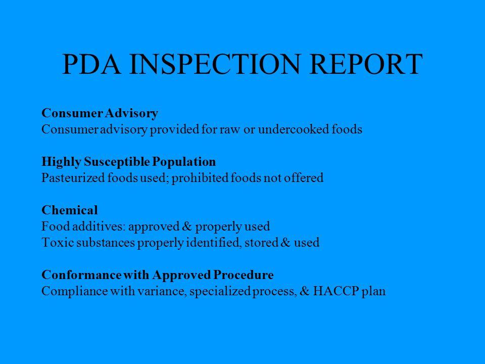 PDA INSPECTION REPORT Consumer Advisory