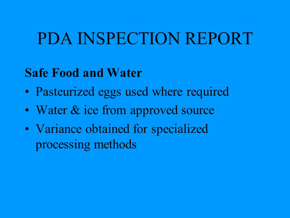 PDA INSPECTION REPORT Safe Food and Water