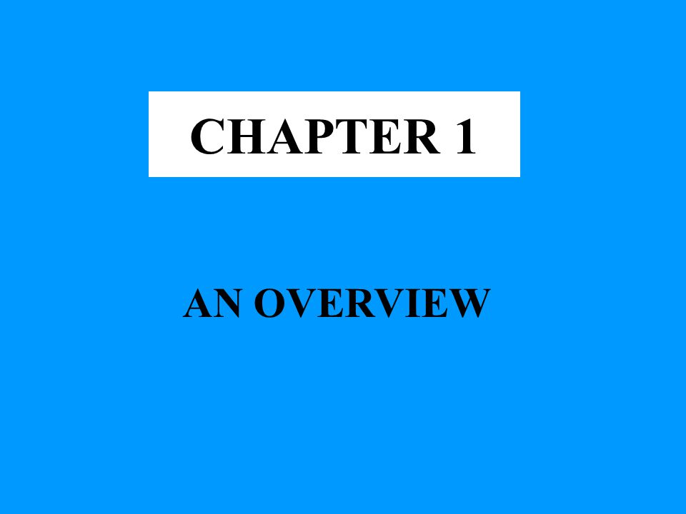 CHAPTER 1 AN OVERVIEW