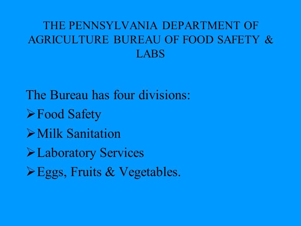 The Bureau has four divisions: Food Safety Milk Sanitation