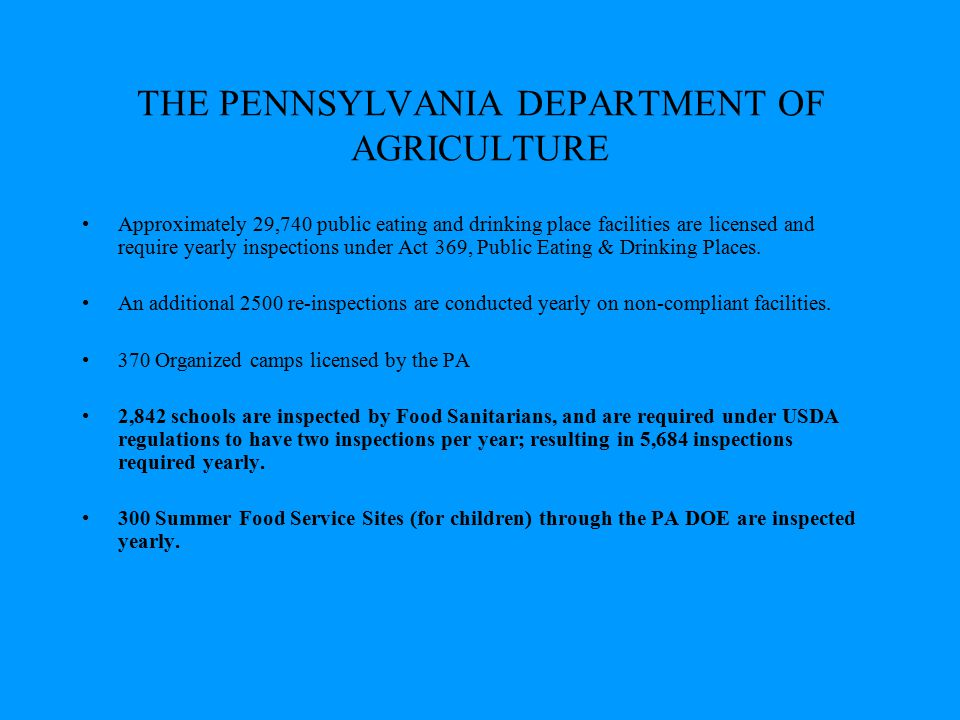 THE PENNSYLVANIA DEPARTMENT OF AGRICULTURE