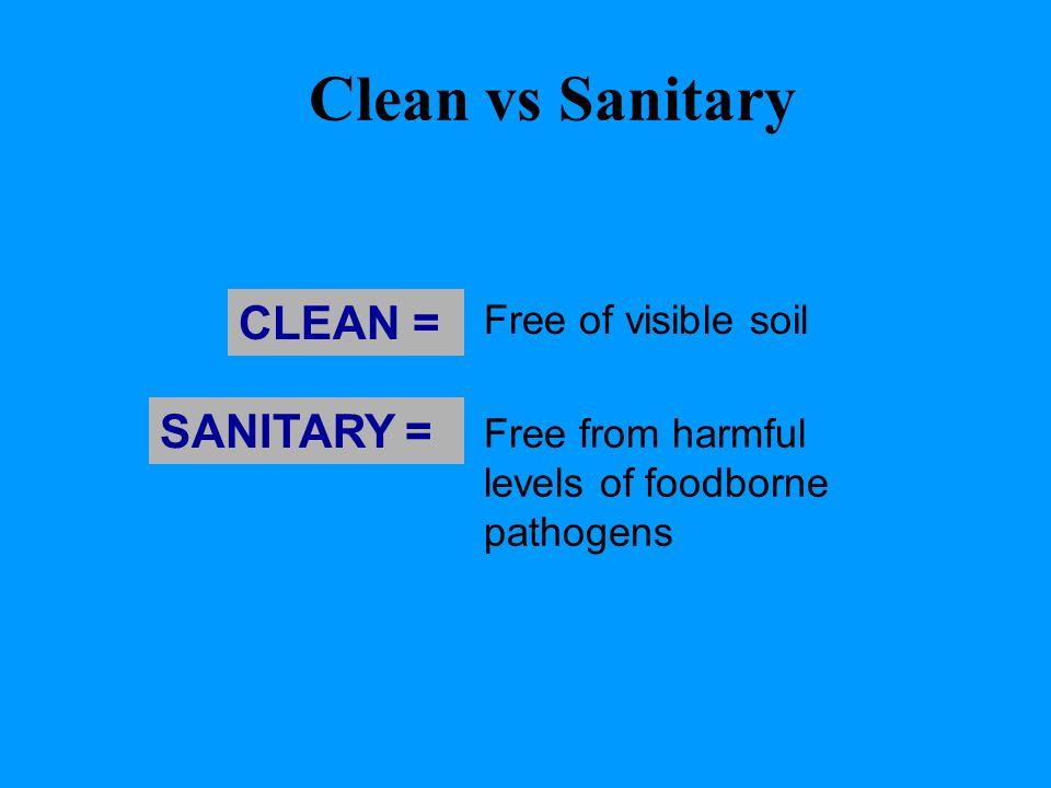Clean vs Sanitary CLEAN = SANITARY = Free of visible soil