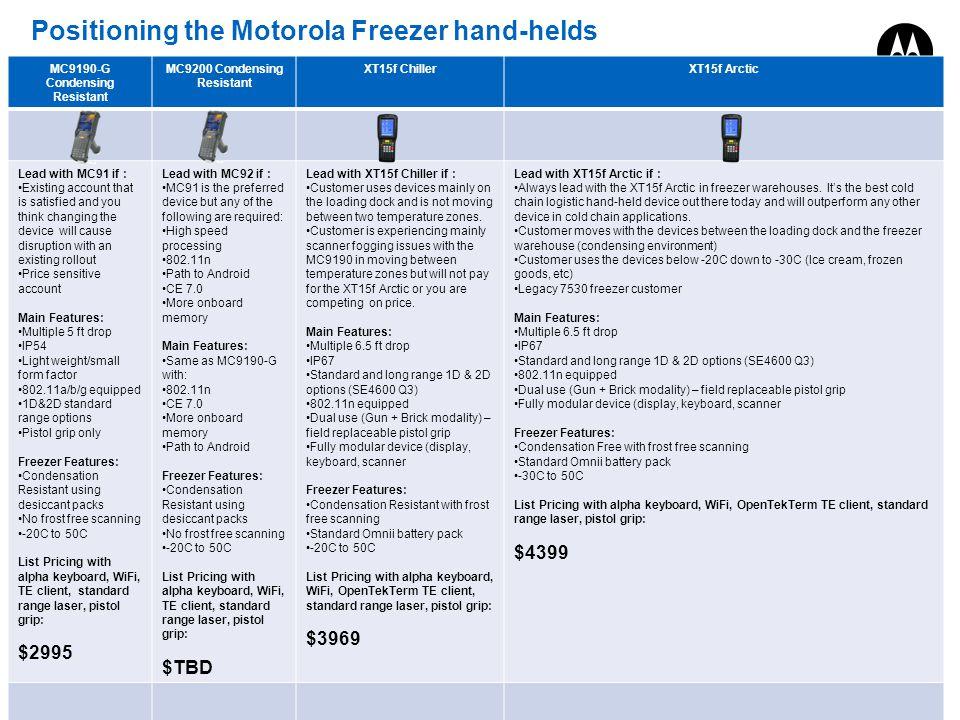 Positioning the Motorola Freezer hand-helds