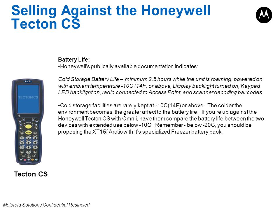 Selling Against the Honeywell Tecton CS