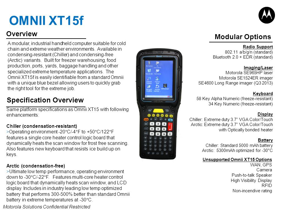 Omnii XT15f Overview Modular Options Specification Overview