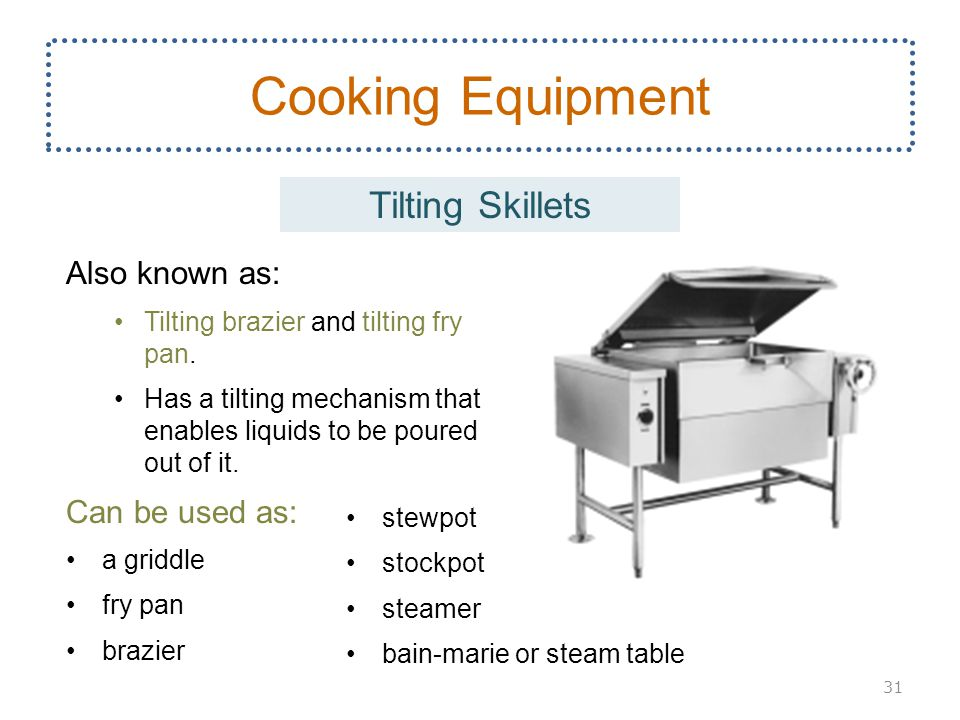 Cooking Equipment Tilting Skillets Also known as: Can be used as: