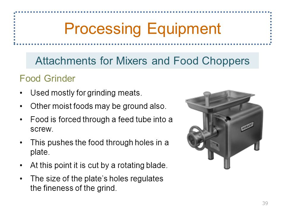 Attachments for Mixers and Food Choppers