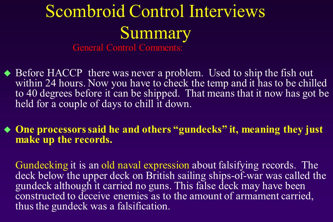 Scombroid Control Interviews Summary