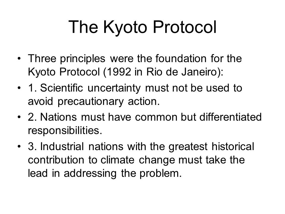 The Kyoto Protocol Three principles were the foundation for the Kyoto Protocol (1992 in Rio de Janeiro):