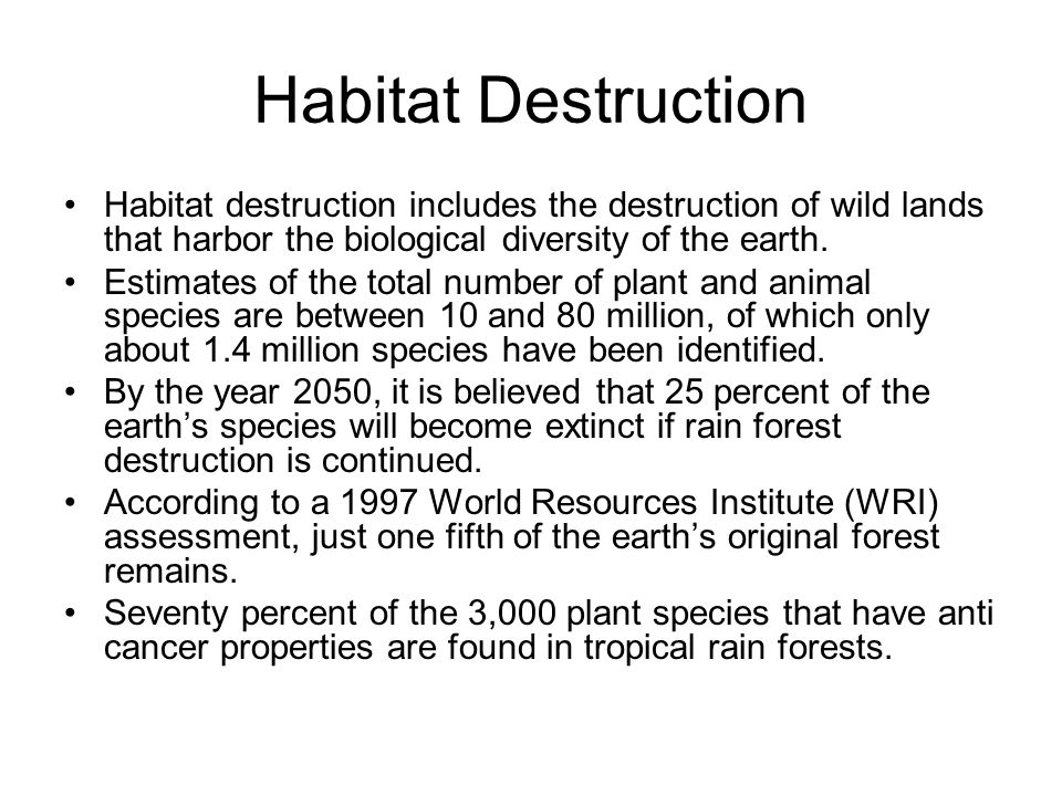Habitat Destruction Habitat destruction includes the destruction of wild lands that harbor the biological diversity of the earth.