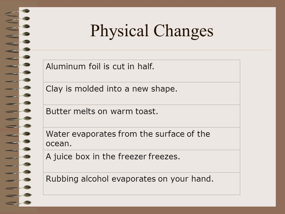 Physical Changes Aluminum foil is cut in half.