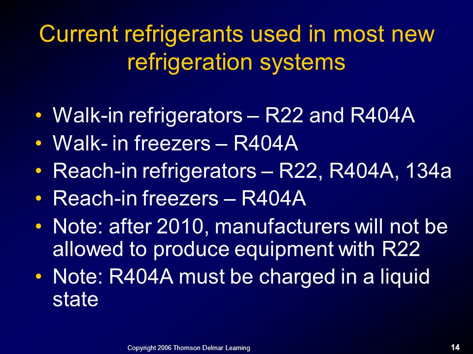 Current refrigerants used in most new refrigeration systems