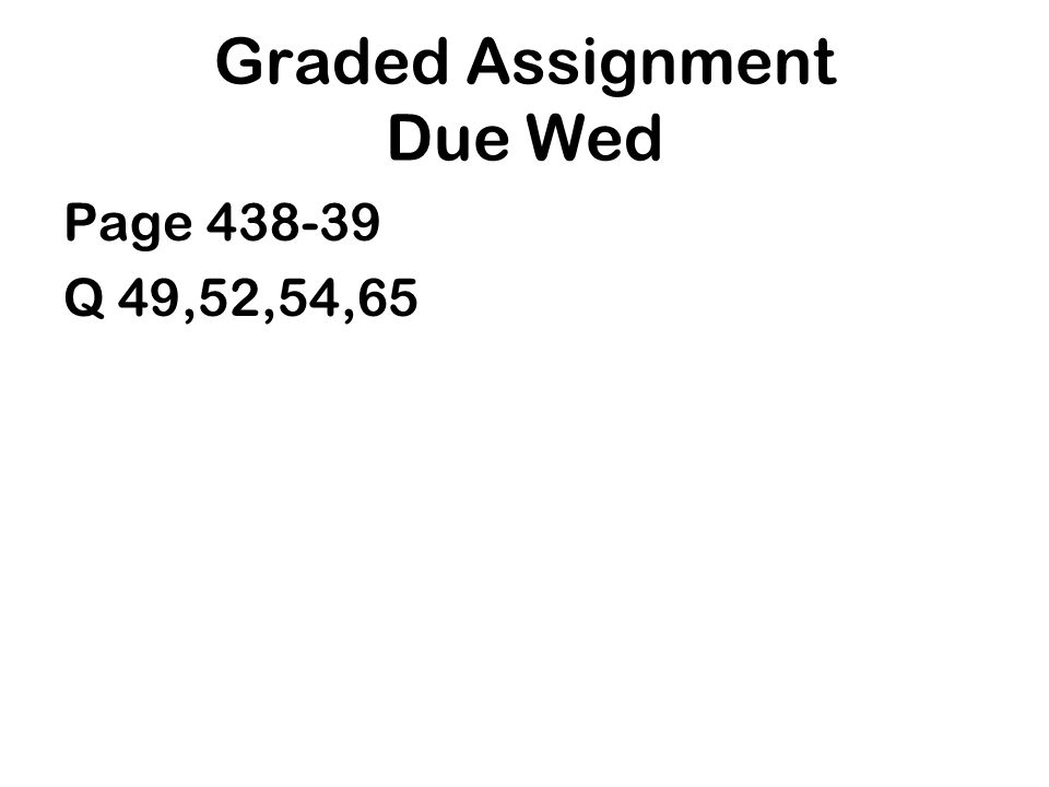 Graded Assignment Due Wed