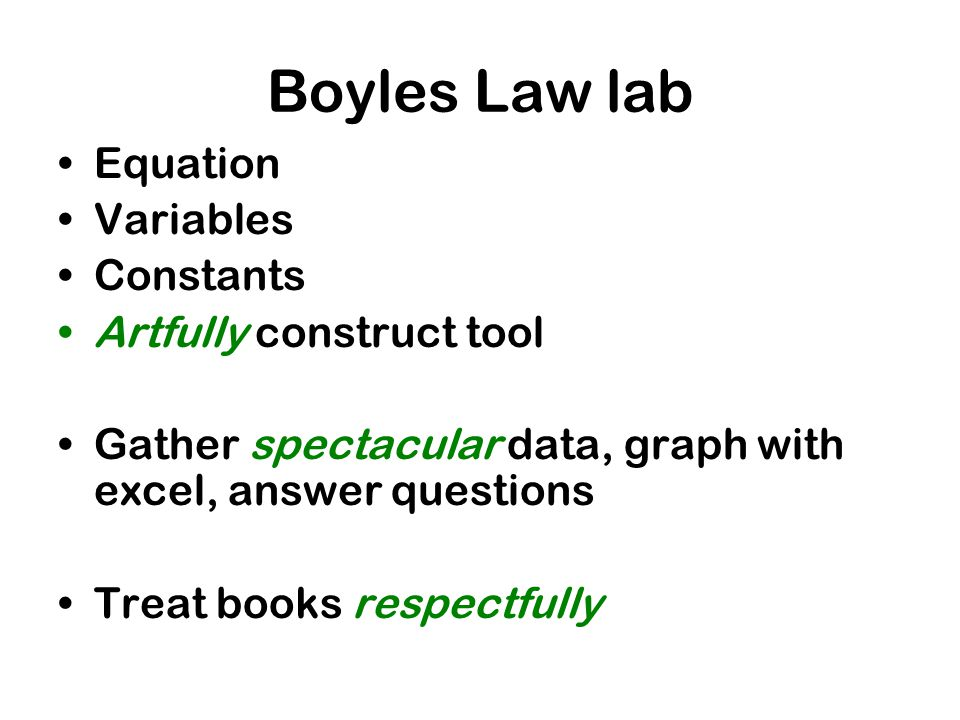 Boyles Law lab Equation Variables Constants Artfully construct tool