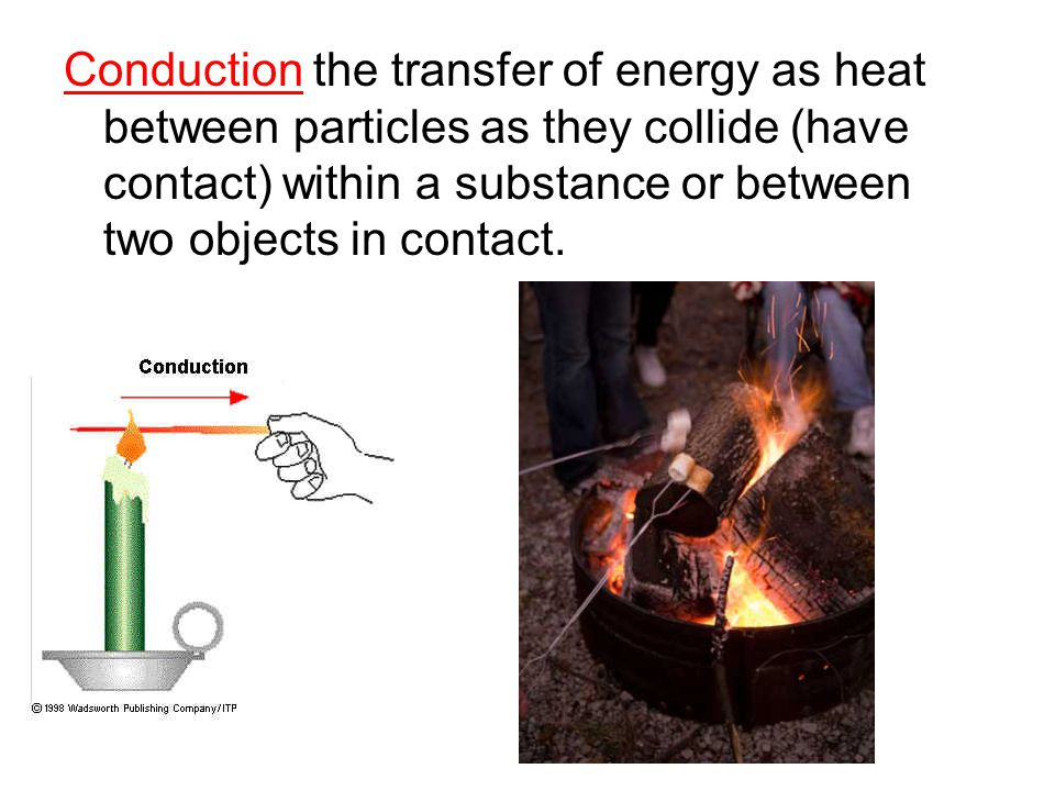Conduction the transfer of energy as heat between particles as they collide (have contact) within a substance or between two objects in contact.