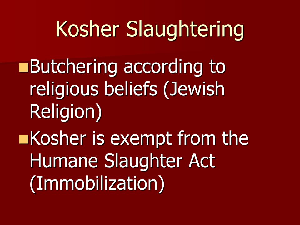 Kosher Slaughtering Butchering according to religious beliefs (Jewish Religion) Kosher is exempt from the Humane Slaughter Act (Immobilization)