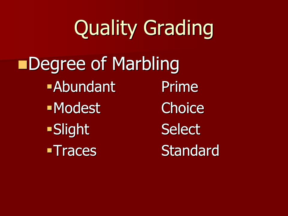Quality Grading Degree of Marbling Abundant Prime Modest Choice
