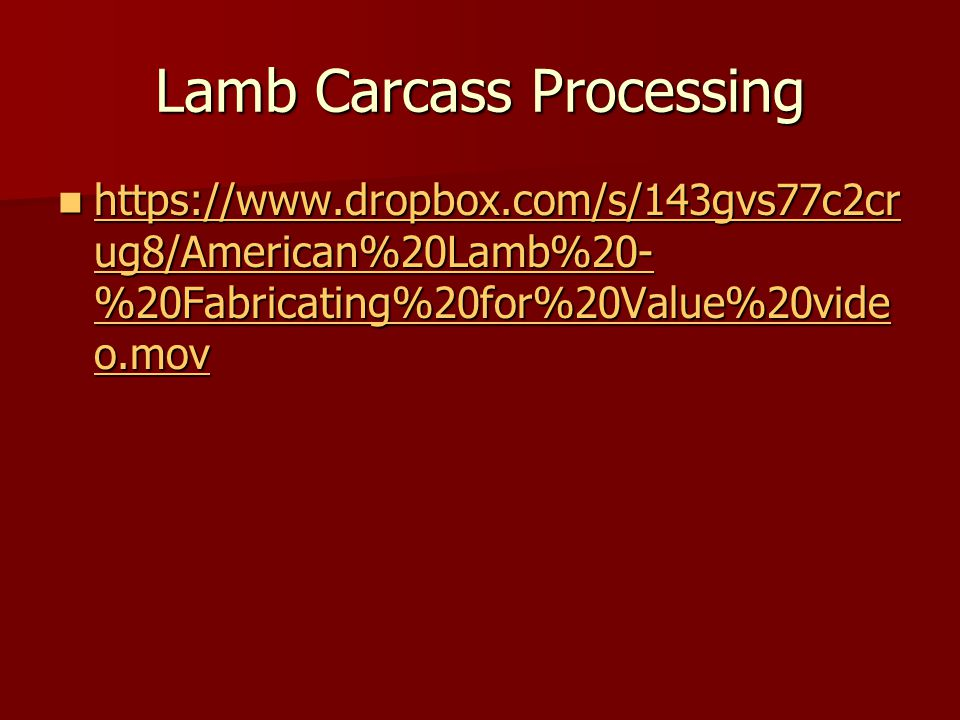 Lamb Carcass Processing