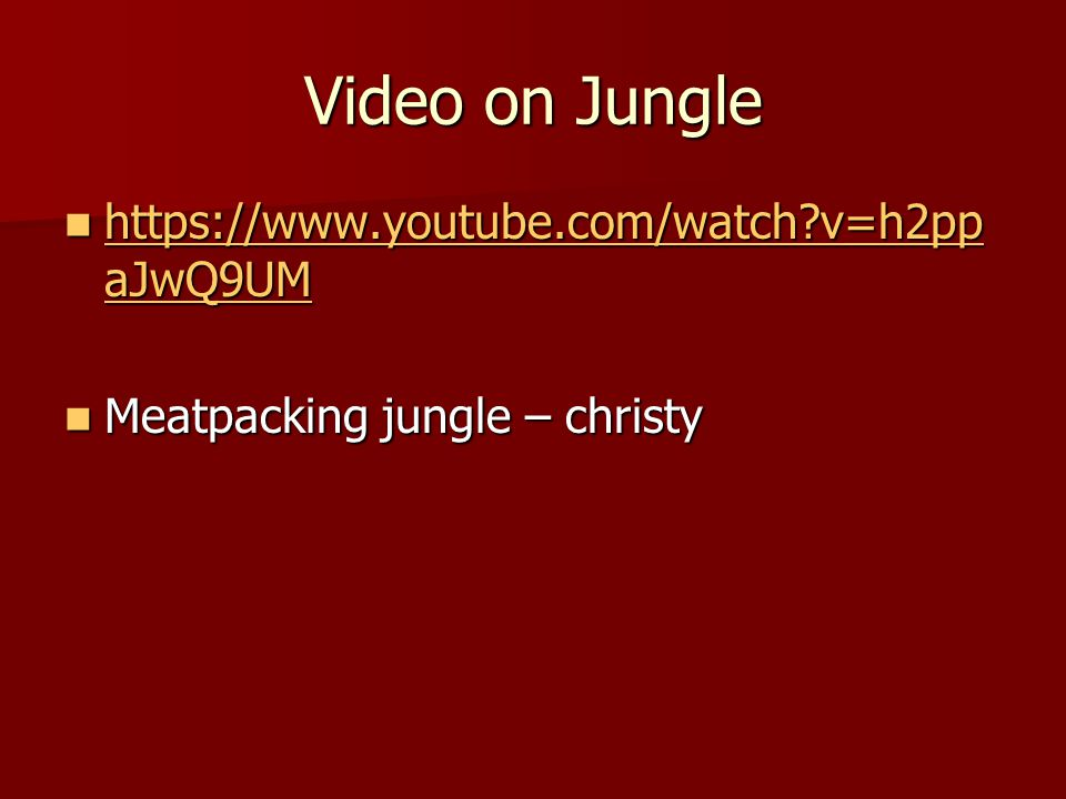 Video on Jungle https://www.youtube.com/watch v=h2ppaJwQ9UM