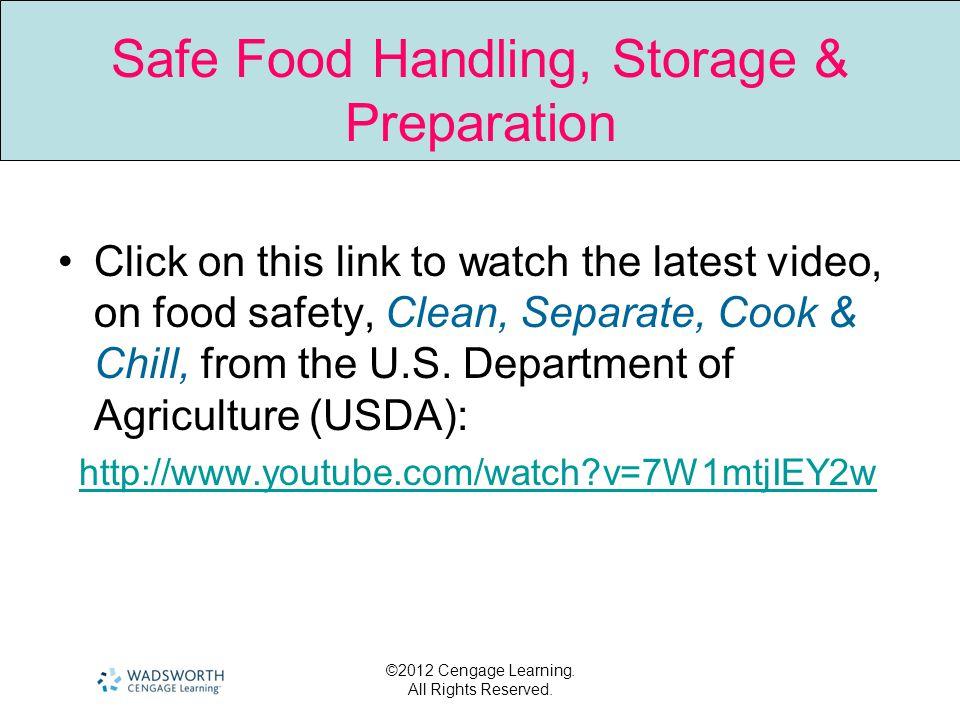 Safe Food Handling, Storage & Preparation