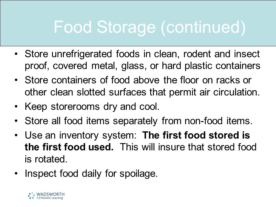 Food Storage (continued)