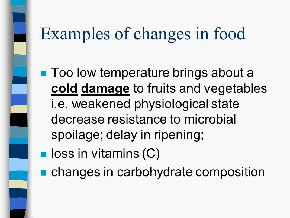 Examples of changes in food