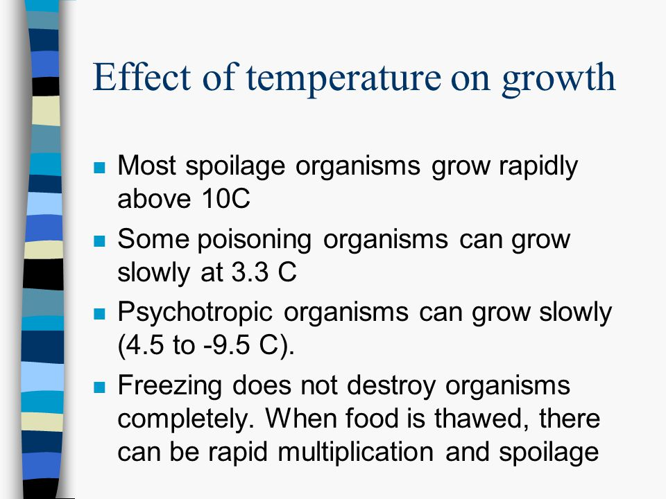 Effect of temperature on growth