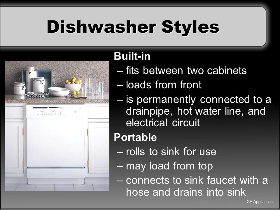 Dishwasher Styles Built-in fits between two cabinets loads from front
