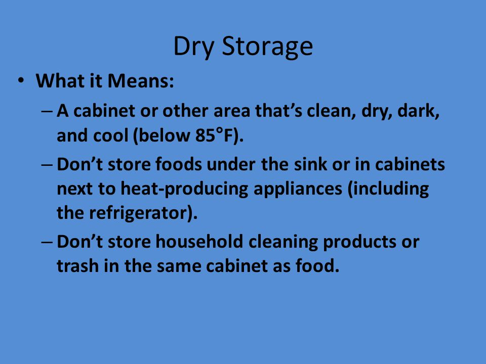 Dry Storage What it Means: