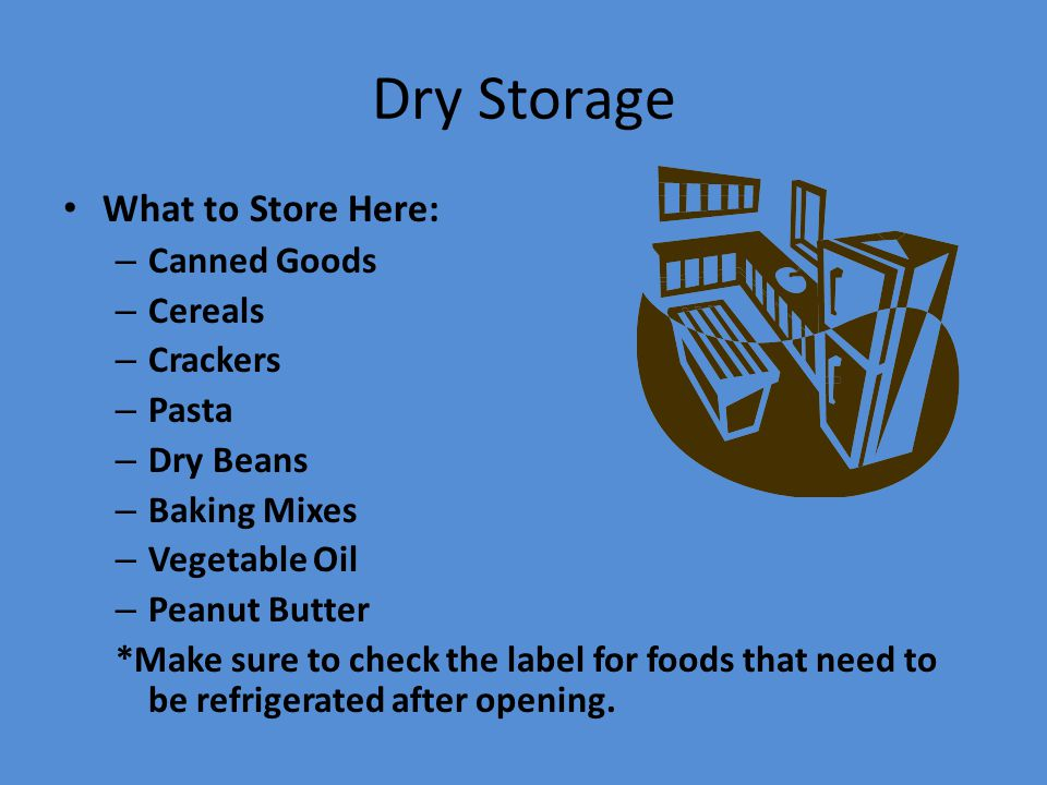 Dry Storage What to Store Here: Canned Goods Cereals Crackers Pasta