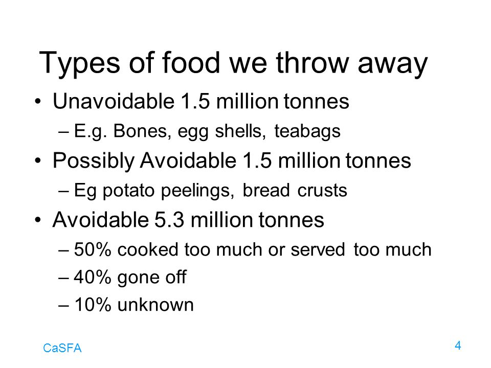 Types of food we throw away