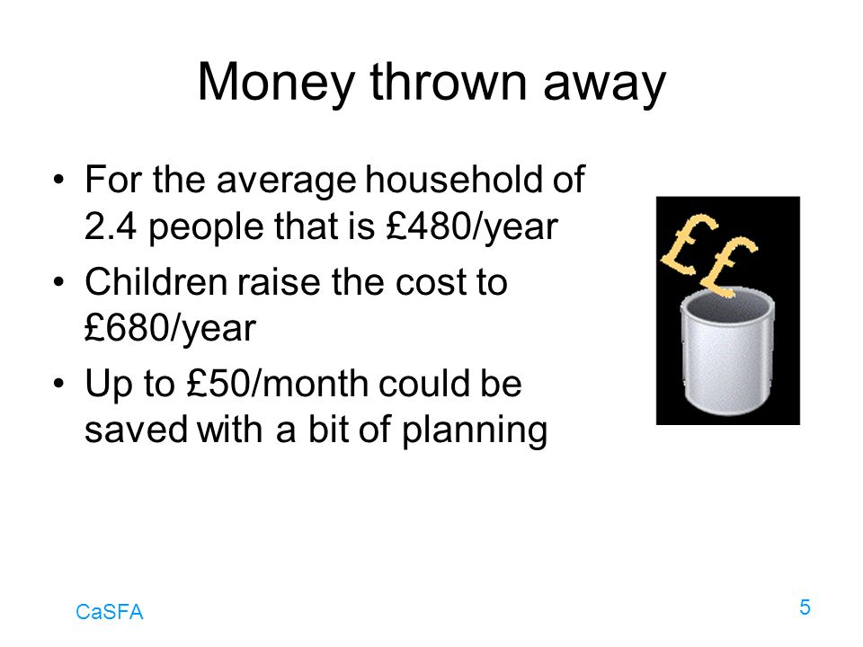 Money thrown away For the average household of 2.4 people that is £480/year. Children raise the cost to £680/year.