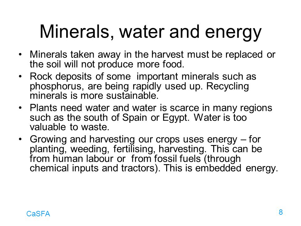 Minerals, water and energy