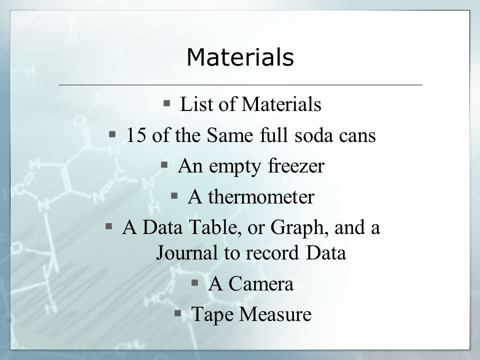 Materials List of Materials 15 of the Same full soda cans