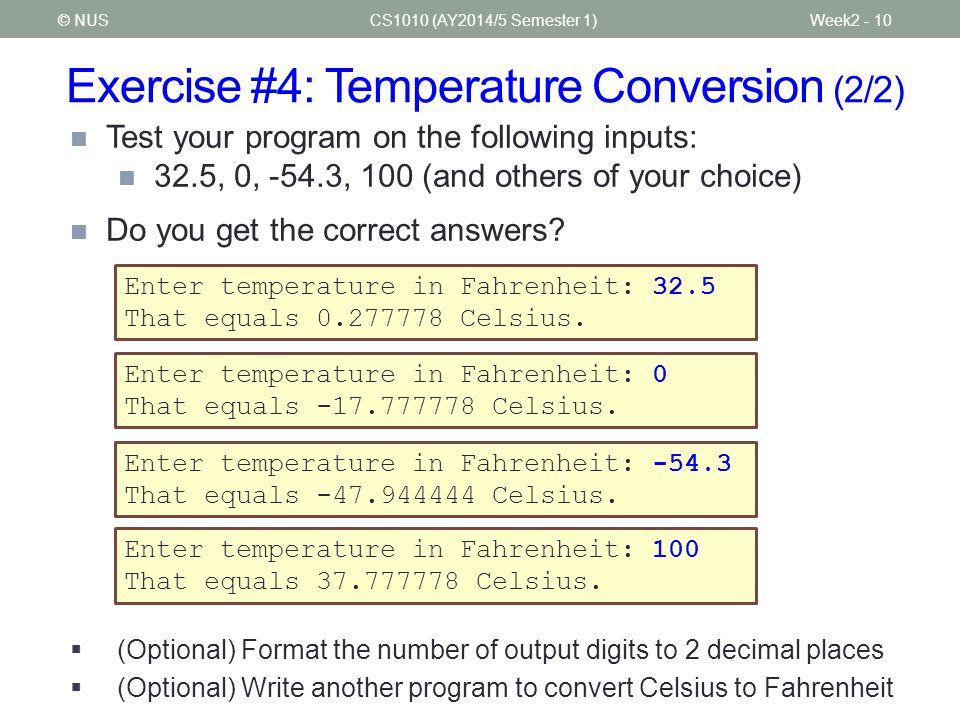 Exercise #4: Temperature Conversion (2/2)