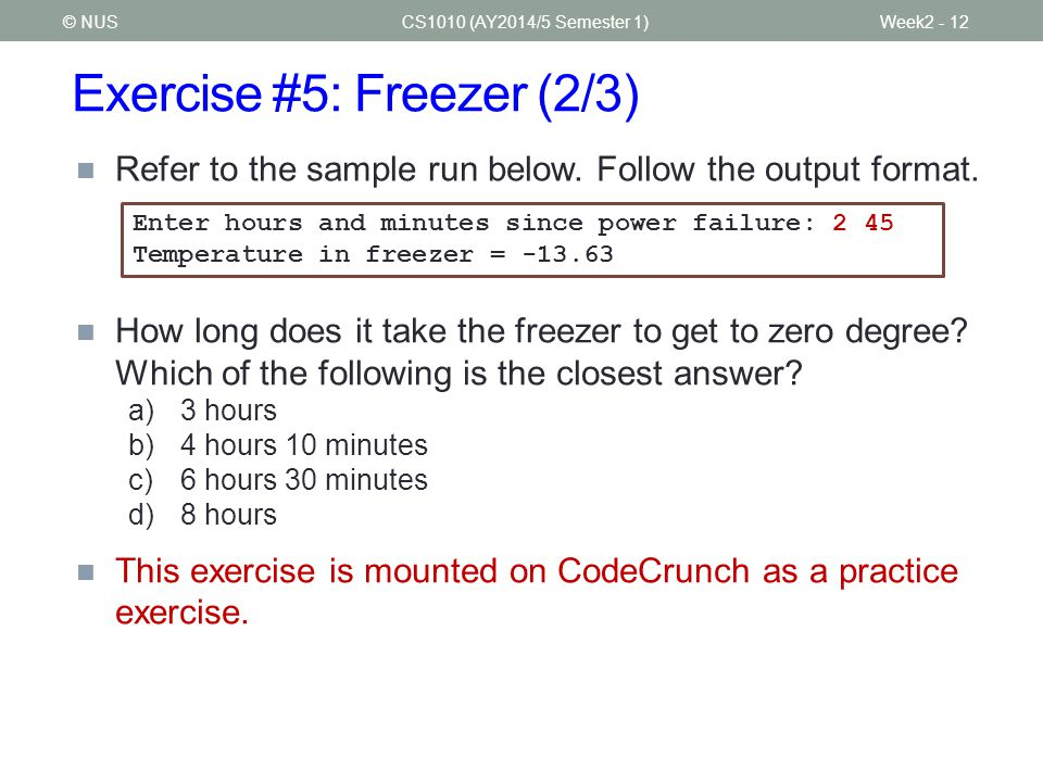 Exercise #5: Freezer (2/3)
