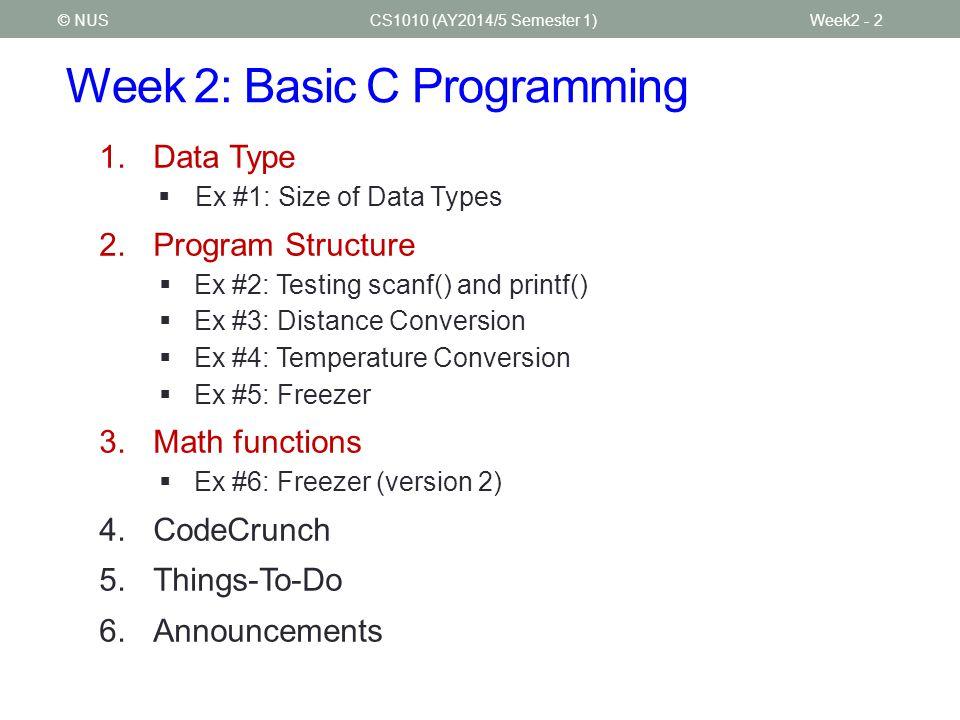 Week 2: Basic C Programming