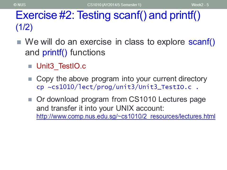 Exercise #2: Testing scanf() and printf() (1/2)