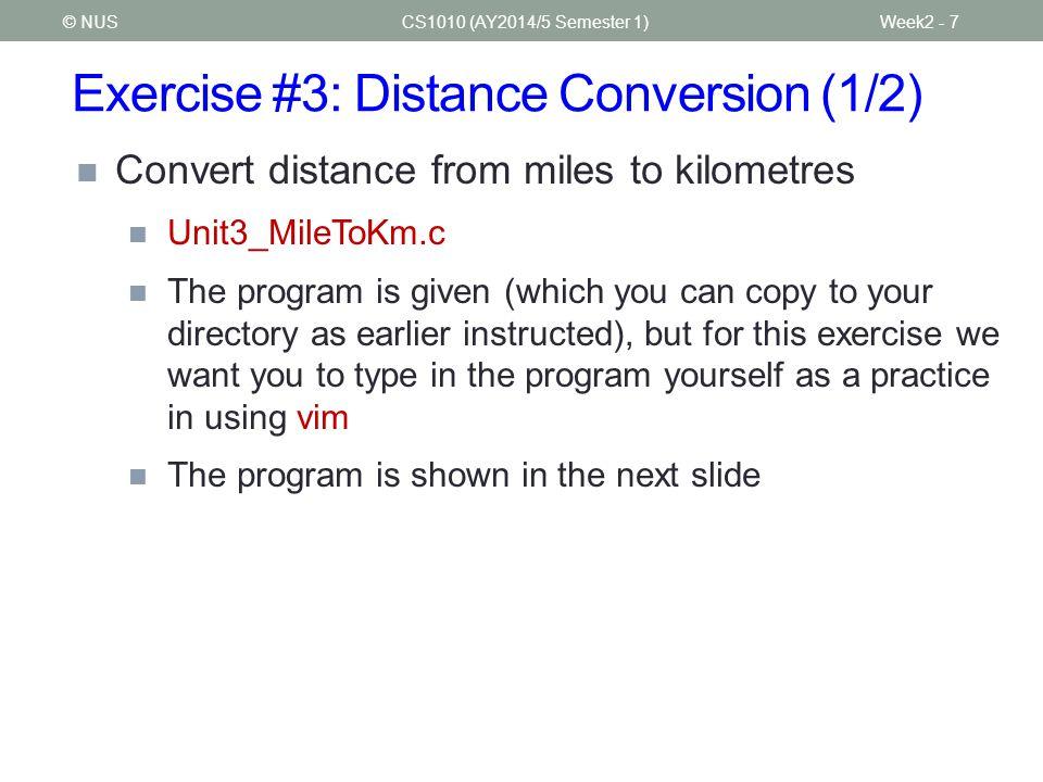 Exercise #3: Distance Conversion (1/2)