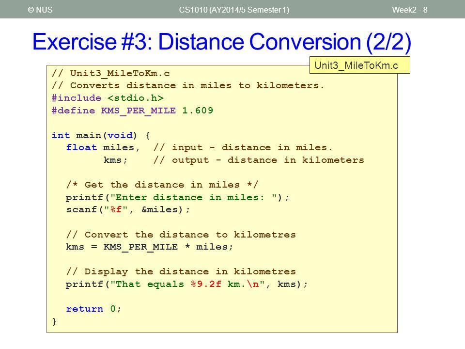 Exercise #3: Distance Conversion (2/2)