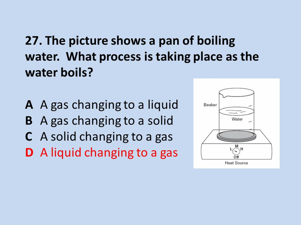 27. The picture shows a pan of boiling water